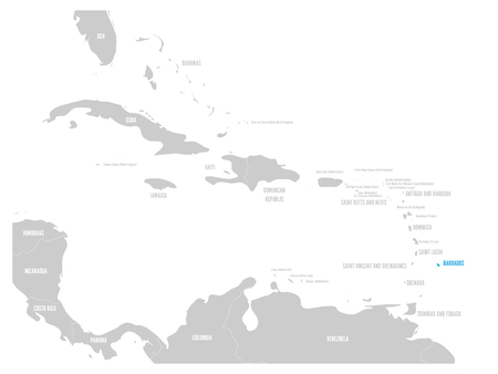 Barbados blue marked in the map of Caribbean Vector illustration.