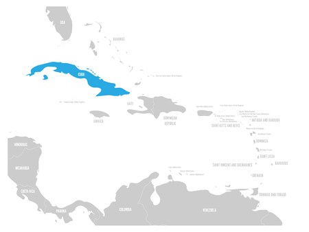 Cuba blue marked in the map of Caribbean. Vector illustration.