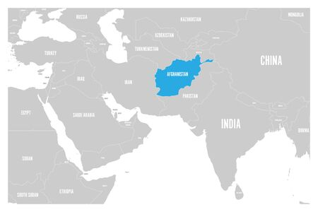 Afghanistan blue marked in political map of South Asia and Middle East. Simple flat vector map.