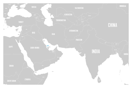 Bahrain blue marked in political map of South Asia and Middle East. Simple flat vector map.