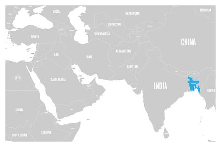 Bangladesh blue marked in political map of South Asia and Middle East. Simple flat vector map.