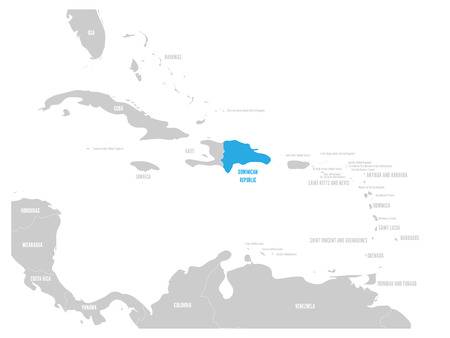 Dominican Republic blue marked in the map of Caribbean. Vector illustration. Illustration