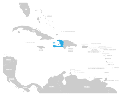 Haiti blue marked in the map of Caribbean. Vector illustration.