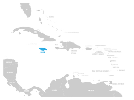 Jamaica blue marked in the map of Caribbean. Vector illustration.