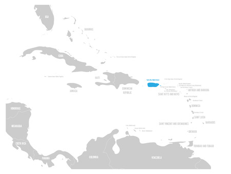 Puerto Rico blue marked in the map of Caribbean. Vector illustration.