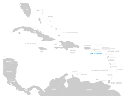 Saint Kitts and Nevis blue marked in the map of Caribbean. Vector illustration. Иллюстрация