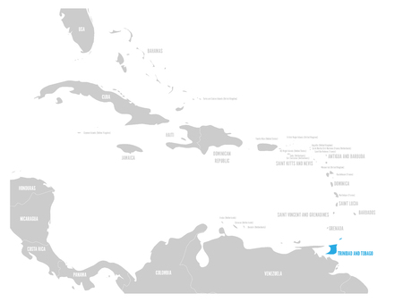 Bahamas blue marked in the map of Caribbean. Vector illustration. Illustration