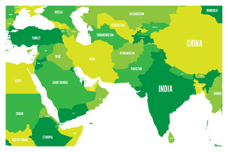 Political map of South Asia and Middle East countries. Simple flat vector map in four shades of green.