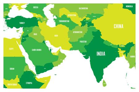Carte politique des pays de l'Asie du Sud et du Moyen-Orient. Carte vectorielle plane simple en quatre nuances de vert.