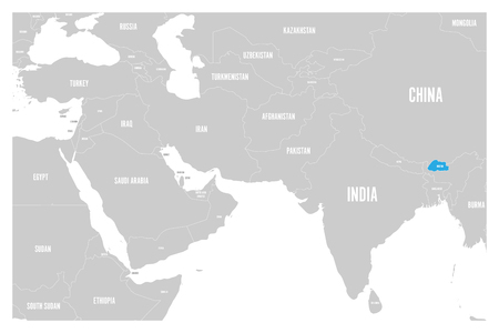 Bhutan blue marked in political map of South Asia and Middle East. Simple flat vector map..