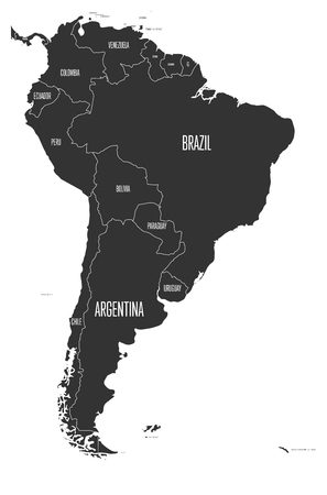 Political map of South America. Simple flat vector map with country name labels in grey.