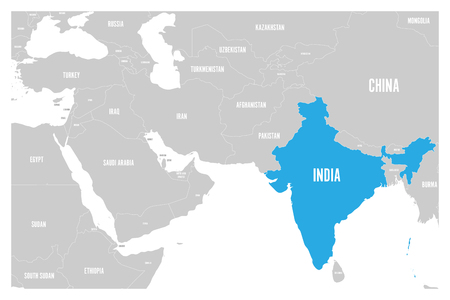 India blue marked in political map of South Asia and Middle East simple flat vector map. Çizim