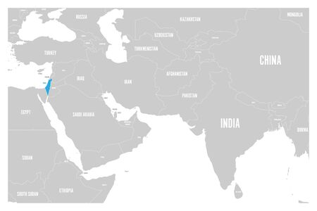 Israel blue marked in political map of South Asia and Middle East simple flat vector map. Illustration