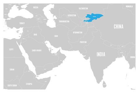 Kyrgyzstan blue marked in political map of South Asia and Middle East. Simple flat vector map. Stock Vector - 92621227
