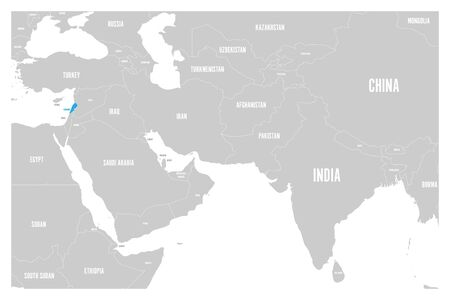 Lebanon blue marked in political map of South Asia and Middle East. Simple flat vector map. Illustration