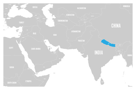 Nepal blue marked in political map of South Asia and Middle East. Simple flat vector map. Illustration