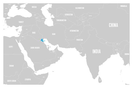 Kuwait blue marked in political map of South Asia and Middle East. Simple flat vector map.