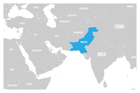 Pakistan blue marked in political map of South Asia and Middle East. Simple flat vector map..