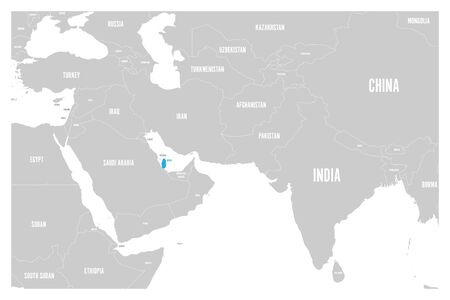 Qatar blue marked in political map of South Asia and Middle East. Simple flat vector map..