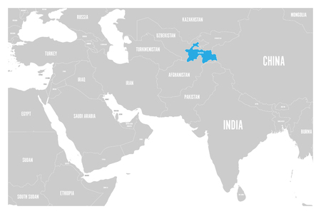 Tajikistan blue marked in political map of South Asia and Middle East. Simple flat vector map..