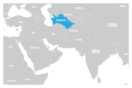 Turkmenistan blue marked in political map of South Asia and Middle East. Simple flat vector map.. Illustration