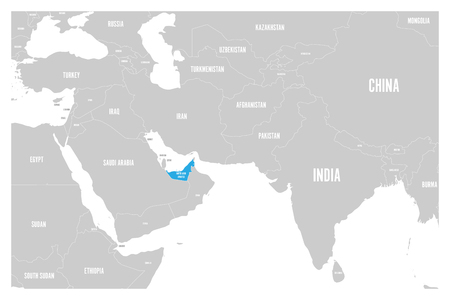 United Arab Emirates blue marked in political map of South Asia and Middle East. Simple flat vector map. Illustration