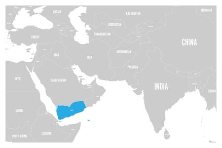 Yemen blue marked in political map of South Asia and Middle East. Simple flat vector map.. Illustration