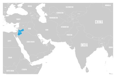 Jordan blue marked in political map of South Asia and Middle East. Simple flat vector map.. Illustration