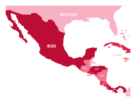 Political map of Central America and Mexico in four shades of maroon simple flat vector illustration.