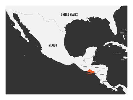 El Salvador orange marked in political map of Central America simple flat vector illustration. Illustration