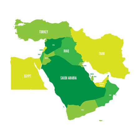 Map of Middle East, or Near East, in shades of green. Simple flat vector ilustration.