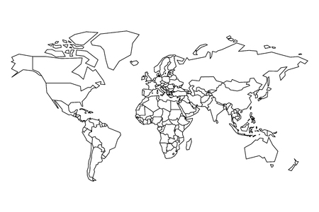 Political map of World. Blank map for school quiz. Simplified black thick outline on white background.