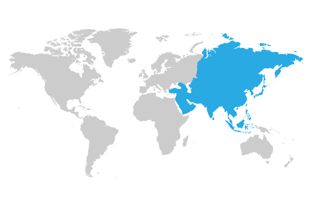 Asia continent blue marked in gray silhouette of World map simple flat vector illustration.