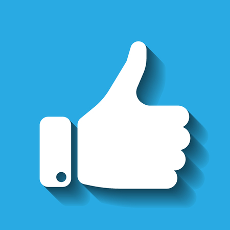 White hand silhouette with thumb up on blue background. Gesture of like, agree, yes, approval or encouragement. Vector illustration with dropped shadow. Illustration
