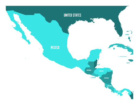 Political map of Central America and Mexico in four shades of turquoise blue. Simple flat vector illustration.