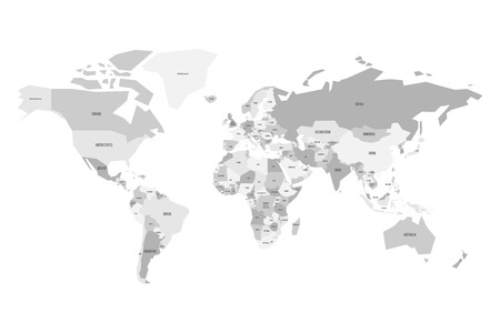Dark grey political world map with light grey background and political map of world simplified vector map in four shades of gray vector gumiabroncs Choice Image