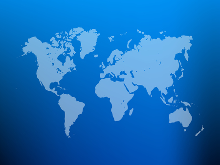 Partly transparent world map silhouette on blue gradient mesh background.