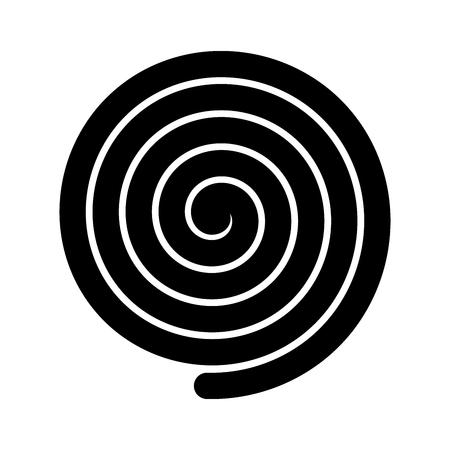 Thick black spiral symbol. Simple flat vector design element. Illustration