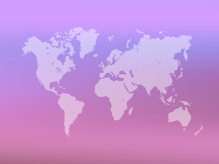 Partly transparent World map silhouette on pink gradient mesh background. Vector illustration. Ilustração