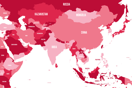 Political map of western, southern and eastern Asia in shades of maroon. Modern style simple flat vector illustration.