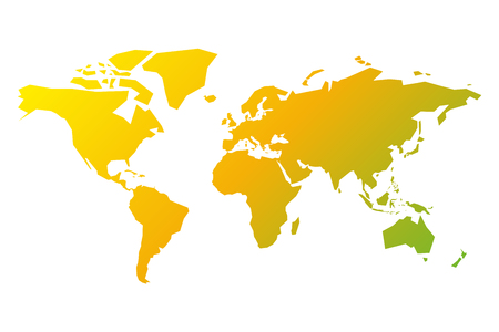 Simplified silhouette of World map in yellow-green gradient. Vector illustration isolated on white background. Illustration