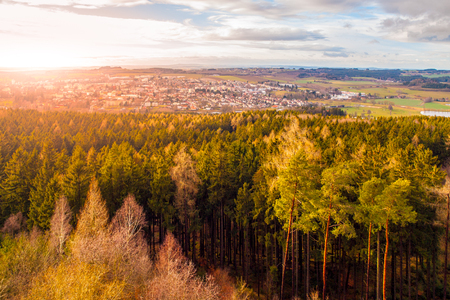 Aerial view of Humpolec from Orlik castle tower, Vysocina region, Czech Republic. Foto de archivo