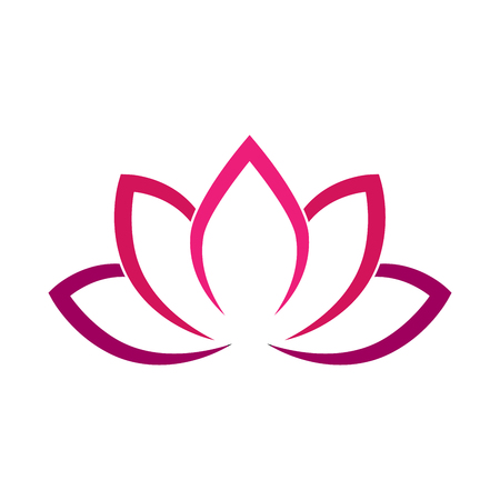 fleur de lotus calligraphique dans des cercles de couleur. symbole de yoga simple illustration vectorielle plane Vecteurs