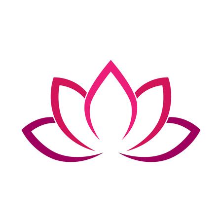 Kaligraficzny kwiat lotosu w różowo-fioletowych kolorach. Symbol jogi. Prosta płaska ilustracja wektorowa. Ilustracje wektorowe