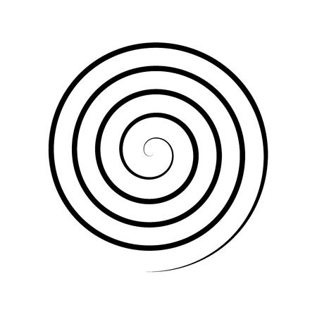 Thin black spiral symbol. Simple flat vector design element.