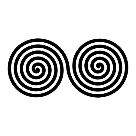 Espirais duplas negras. Símbolo abstrato simples vetor ornamentais e decorativos.