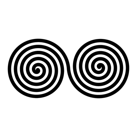 Black double spirals. Simple abstract ornamental and decorative vector symbol.