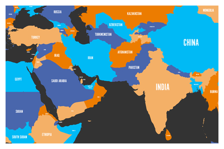 Political map of South Asia and Middle East countries. Simple flat vector map in four colors. Illustration