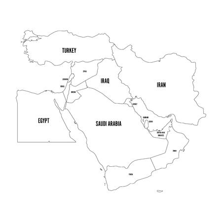 Mapa polityczna Bliskiego Wschodu lub Bliskiego Wschodu prosty płaski zarys ilustracji wektorowych.