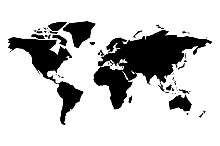 Map of World vector silhouette. Simplified black map on white background. Imagens - 93540301